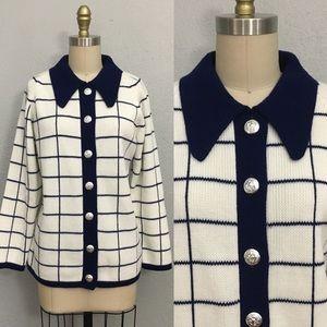Vintage button down window pane sweater